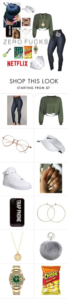 """""""Im bored asf"""" by his-shawty ❤ liked on Polyvore featuring WithChic, NIKE, Versace, Adrienne Landau and Rolex"""