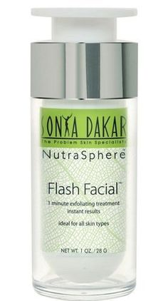 Sonya Dakar Flash Facial 1oz (28g) by Sonya Dakar. $95.00. Reveal fresh young skin in 1 minute! This safe and effective exfoliating gel quickly sloughs away dead skin and other impurities. Created with lactic acid to gently detoxify, Hylasome (5 times more moisturization than standard hyaluronic acid), and anti-oxidant rich resveratrol to nourish. Skin is left soft to the touch, plumper and instantly brighter. The results are immediate and undeniable. Recommended for all ...