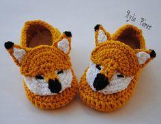 Ayla's Crafts : Patrón de zapatitos de zorro para bebé
