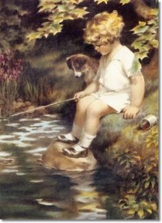 Bessie Pease Gutmann - What a Perfectly Peaceful Afternoon for Jamie and His Pal