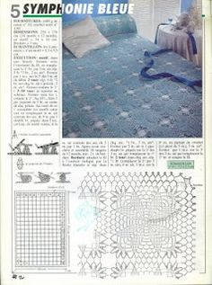 Blue crochet bedspread with diagrams