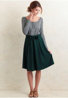 Paige Bow Skirt In Green | Modern Vintage Clothing | Ruche