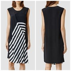 🆕AllSaints Air Lyde Dress Brand New with tags. Black with white stripe panel front detailing dress. 100% Silk. Size 0/UK 4. 🚫 trades All Saints Dresses Midi