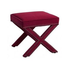 Red Contemporary Footstool Ottoman Cross Bench Nailhead Furniture Legs Stool #Contemporary