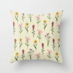 Buy Vintage Wildflowers Throw Pillow by somecallmebeth. Worldwide shipping available at Society6.com. Just one of millions of high quality products available. Couch Pillows, Down Pillows, Designer Throw Pillows, Pillow Design, Wildflowers, Pillow Inserts, Pretty, Stuff To Buy, Vintage