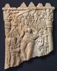 Plaque with the goddess Durga and attendants, Shunga period (ca. 2nd–1st century B.C.), 1st century B.C.  Chandraketugarh, West Bengal, India, terracotta.