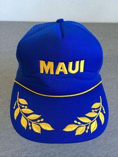 Vintage 80 s MAUI Navy Snap Back Hat HAWAIIAN HEADWARE Unworn DEADSTOCK  Trucker  BaseballCap eb6ff4ef2f9c