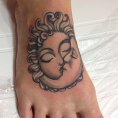 Awesome Sun Moon Foot Tattoo for Girl | Cool Tattoo Designs This would be better if the sun was male and the moon female! :D