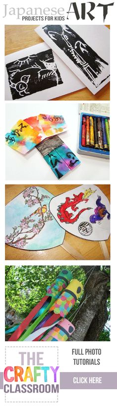 Tons of ideas for art projects for kids.  Many more Japanese Art Projects for Kids too!  Free, Full photo tutorials, great for homeschooling and unit studies.  www.TheCraftyClassroom.com