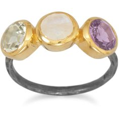 Two Tone Multistone Ring ($35) ❤ liked on Polyvore featuring jewelry, rings, round ring, 14 karat gold jewelry, 14k ring, multi stone ring and two tone jewelry