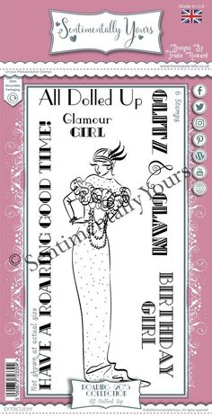 Trudie Howard Sentimentally Yours DL Stamp Set -  Roaring 20's : All Dolled Up Roaring 20s, Stamp, Dolls, Roaring Twenties, Stamps, Puppet, Doll, Baby