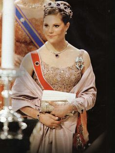 Crown Princess Victoria of Sweden inside Trondheim Cathedral for the wedding ceremony; wedding of Princess Märtha Louise of Norway and mr. Ari Behn on May 24, 2002