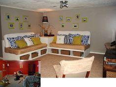 Daybed couch that doubles as two full-sized twin beds once the pillows are removed. Plus storage!   CustomMade