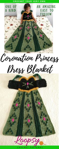 Crochet your very own Coronation Princess Dress Blanket in a Child Small size with this one of a kind pattern. This project features slip on shoulder straps perfect for children to put on and take off by themselves. Make for your own children or give as gifts to friends.