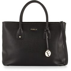 Furla Josi Medium Leather Tote Bag ($189) ❤ liked on Polyvore featuring bags, handbags, tote bags, onyx, zip tote bag, tote handbags, leather tote purse, leather tote bags and zip tote