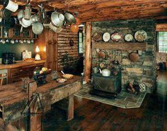 la-vie-en-rustique-luxe: (via Rustic and cozy / AmazingI have just the antiques to fill it too! Rustic Cabin Kitchens, Rustic Kitchen, Cozy Kitchen, Country Kitchen, Primitive Kitchen, Kitchen Dining, Kitchen Ideas, Nice Kitchen, Rustic Room