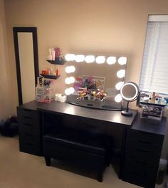 Black Vanity Desk With Lights.Place For Putting On Make Up Consider A Full Length . DIY Vanity Mirror With Lights For Bathroom And Makeup Station. How To Makeup Vanity Set With Lights - Homeynice. Home Design Ideas Vanity Desk With Lights, Black Vanity Desk, Black Makeup Vanity, Vanity Makeup Rooms, Makeup Vanity Lighting, Diy Vanity Mirror, Makeup Table Vanity, Vanity Room, Vanity Chairs