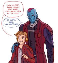 Guardians of the Galaxy Yondu and Star Lord Marvel 3, Marvel Memes, Marvel Comics, Gardens Of The Galaxy, Yondu Udonta, Baby Avengers, Star Lord, Marvel Characters, Comic Character