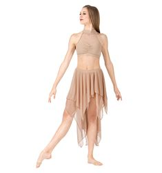 NEW! BODY WRAPPERS Adult Double Layer High-Low Dance Skirt Style No: BW9115