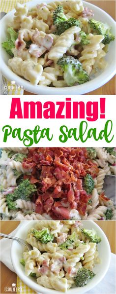 Amazing Pasta Salad recipe from The Country Cook. Rotini pasta tossed in a creamy sweet and sour dressing with bacon, broccoli and onion.