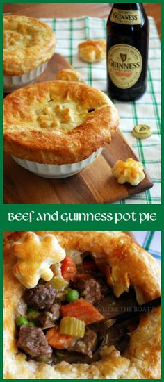 Beef and Guinness Pot Pie, a celebration in a bowl with puff pastry shamrocks! Make this hearty recipe ahead, freeze, and pull out on a busy week night. #StPatricksDay