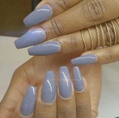 Blue Squoval Acrylic Nails