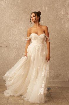 Off the Shoulder Wedding Dress A Line Wedding Dress Boho | Etsy
