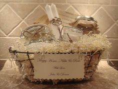Housewarming Basket (Traditional) - Love this idea, and the items in the basket don't look terribly expensive!