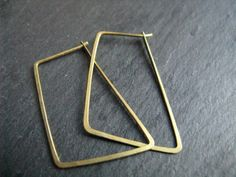 Minimalist hoop earrings geometric brass hoops by minimalgeometric, $38.17