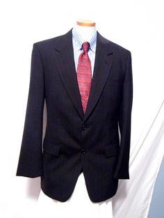 Evan Picone Mens Black Wool Blend,Pin Striped 2 Button Sport Coat Size 46R #EvanPicone #TwoButton