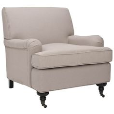 A timeless addition to your living room or den, this stylish arm chair showcases classic linen upholstery and castered front feet. My Living Room, Living Room Chairs, Living Room Furniture, House Furniture, Upholstered Arm Chair, Armchair, Dream Furniture, Furniture Ideas, Lane Furniture