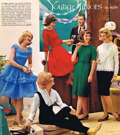 Juniors fashion - 1962 style color photo print ad models dress skirt pant jumpsuit pinafore red blue green black white sheath wiggle full skirt fit flair 60s