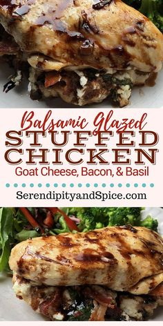 ... goat cheese, bacon, and basil then drizzled with a balsamic vinegar