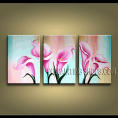 Huge Modern Abstract Painting Hand-Painted Art Paintings For Living Room Lily Flowers. This 3 panels canvas wall art is hand painted by Bo Yi Art Studio, instock - $118. To see more, visit OilPaintingShops.com