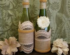 Artículos similares a Burlap / Hessian & Lace Cutlery Holder - Perfect Home or Wedding Decoration en Etsy