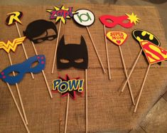 Superhero photobooth props! Set of 12 different props! Super fun for your superhero party!!
