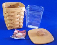 Longaberger Small Spoon Basket Woodcrafts Lid Plastic Protector  6 inches tall #Longaberger