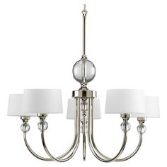 Cast a warm glow in your entryway or dining room with this 5-light chandelier, showcasing gleaming metalwork and sparkling glass orb accents.