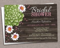 Rustic Succulent Floral Bridal Shower Invitations – Artistically Invited