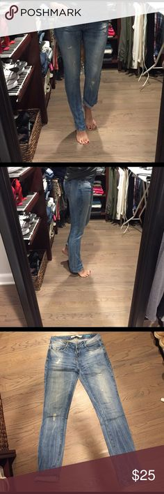 Zara TRF straight jeans size 6 Used good condition distressed jeans. Little stain on the back from the leather patch. Zara Jeans Straight Leg
