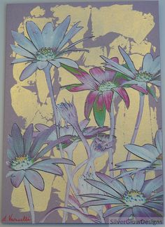 Handmade Greeting Card Decoupage Collage Metal Leaf Mixed Media Floral Daisies