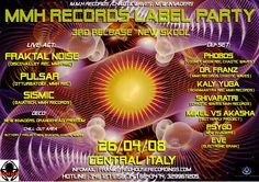Flyer...Old MMH Rercords + Chaotic Waves (MI) label party in April 2008.  Marche, Italy.