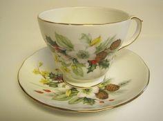 Duchess Fine Bone China Tea Cup and Saucer, England, Winter pattern