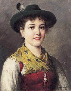 Ostersetzer, Carl. 1865 Brody/Galizien - 1914 Wien. Sign. Junges Mädchen in Tracht.