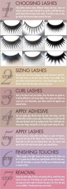 False eyelashes are kind of terrifying if you don't know how to apply them properly. Luckily there's help. 28 Makeup Charts That'll Make Your Life So Much Easier Makeup Charts, Applying False Lashes, Fake Lashes, Natural Fake Eyelashes, False Eyelashes Tips, Best False Lashes, Eyelashes How To Apply, Before Wedding, Tips Belleza