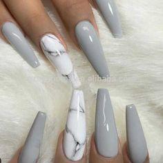 Marble Acrylic Nails, Best Acrylic Nails, Acrylic Nail Designs, Acrylic Gel, Nails Kylie Jenner, Nagel Hacks, Gel Nails At Home, Gray Nails, Ballerina Nails