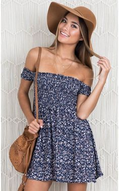 Bold Shoulder Dress In Navy Floral Produced Showpo Bold Shoulder dress in Navy Floral - 12 (L) Casual Dresses Cute Summer Outfits, Girly Outfits, Trendy Outfits, Fashion Outfits, Summer Dresses, Fashion Trends, Fashion Fall, Beach Outfits, Fashion Women