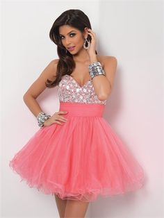 Lovely Strapless Sweetheart Neckline with Beadings Empire Short Tulle Homecoming Dress HD1771 www.homecomingstore.com $138.0000