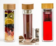 Life Tea Tumbler - Double Walled Infusion Water Bottle ✪ Infuse Water with Blend of Herbs, Fruit or Loose Leaf Tea for Enlivened Organic Hydration ✪ Double Walled Travel Mug - 15.2 Oz, ✪ Glass Water Bottle - Make Tea, Coffee, Detox Water - Fruit Infuser