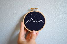 Mountains and Stars Embroidery Hoop Art, Mini Wall Hanging, Handmade Mountain Range, Navy Nursery Decor, Modern Housewarming Gift